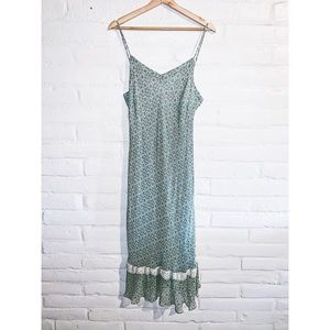 Robbie Bee || Green Silk Maxi Dress